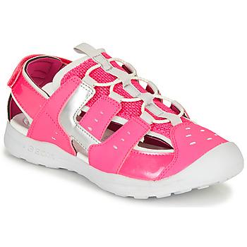 鞋子 女孩 運動涼鞋 Geox 健樂士 J VANIETT GIRL 玫瑰色 / 銀灰色
