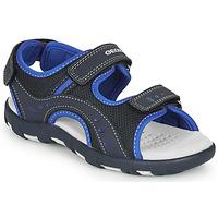 鞋子 男孩 运动凉鞋 Geox 健乐士 JR SANDAL PIANETA 海蓝色