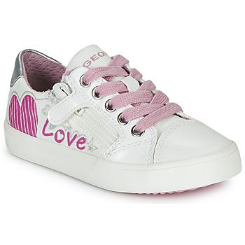 鞋子 女孩 球鞋基本款 Geox 健樂士 J GISLI GIRL 白色 / 玫瑰色 / 銀色