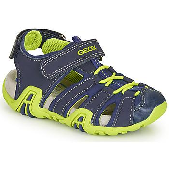 鞋子 男孩 運動涼鞋 Geox 健樂士 B SANDAL KRAZE 海藍色 / 綠色