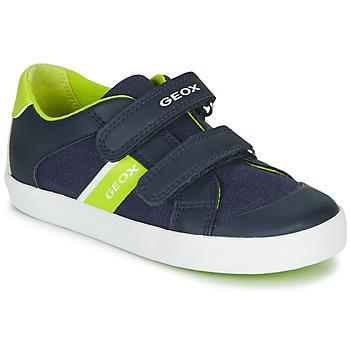 鞋子 男孩 球鞋基本款 Geox 健乐士 B GISLI BOY 海蓝色 / 绿色