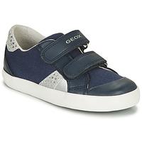 鞋子 男孩 球鞋基本款 Geox 健乐士 B GISLI GIRL 海蓝色 / 银色