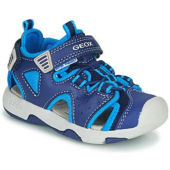 鞋子 男孩 运动凉鞋 Geox 健乐士 B SANDAL MULTY BOY 蓝色