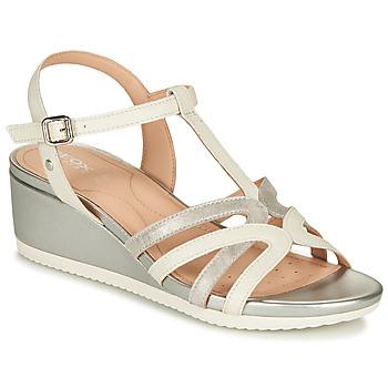 鞋子 女士 凉鞋 Geox 健乐士 D ISCHIA 白色 / 银灰色