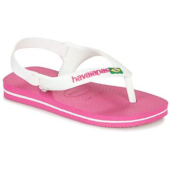 鞋子 女孩 人字拖 Havaianas 哈瓦那 BABY BRASIL LOGO II 粉色 / 白色