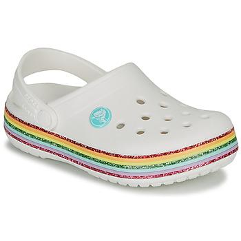 鞋子 女孩 洞洞鞋/圆头拖鞋 crocs 卡骆驰 CROCBAND RAINBOW GLITTER CLG K 白色