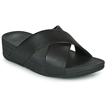 鞋子 女士 休閑涼拖/沙灘鞋 FitFlop LULU CROSS SLIDE SANDALS - LEATHER 黑色