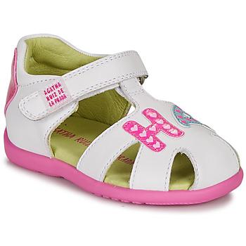 鞋子 女孩 凉鞋 Agatha Ruiz de la Prada 阿嘉莎·鲁兹·德 HAPPY 白色 / 玫瑰色