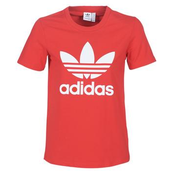 衣服 女士 短袖体恤 Adidas Originals 阿迪达斯三叶草 TREFOIL TEE 红色