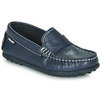 鞋子 男孩 皮便鞋 Pablosky  海蓝色
