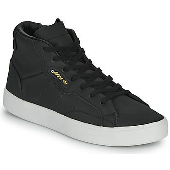 鞋子 女士 高帮鞋 Adidas Originals 阿迪达斯三叶草 adidas SLEEK MID W 黑色