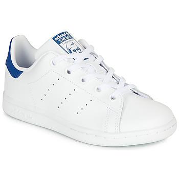鞋子 儿童 球鞋基本款 Adidas Originals 阿迪达斯三叶草 STAN SMITH C 白色 / 蓝色