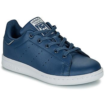 鞋子 男孩 球鞋基本款 Adidas Originals 阿迪达斯三叶草 STAN SMITH C 蓝色