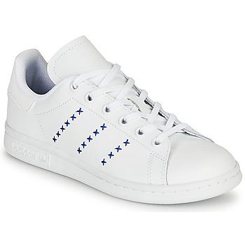鞋子 儿童 球鞋基本款 Adidas Originals 阿迪达斯三叶草 STAN SMITH J 白色 / 蓝色