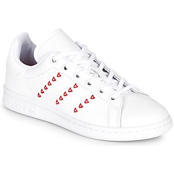 鞋子 女孩 球鞋基本款 Adidas Originals 阿迪達斯三葉草 STAN SMITH J 白色 / 紅色
