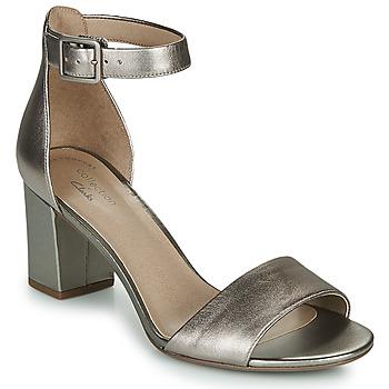 鞋子 女士 凉鞋 Clarks 其乐 DEVA MAE 银灰色