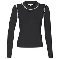 衣服 女士 羊毛衫 Michael by Michael Kors MK TRIM LS CREW 黑色