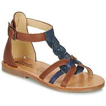 鞋子 女孩 涼鞋 Citrouille et Compagnie GITANOLO 海藍色 / 駝色