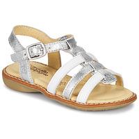 鞋子 女孩 凉鞋 Citrouille et Compagnie GROUFLA 银灰色 / 白色