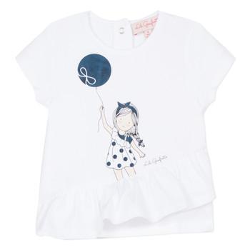 衣服 女孩 短袖体恤 Lili Gaufrette NALIOS 白色