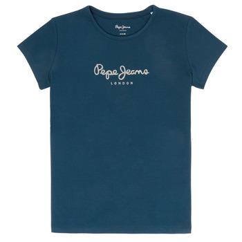 衣服 女孩 短袖体恤 Pepe jeans HANA GLITTER 海蓝色