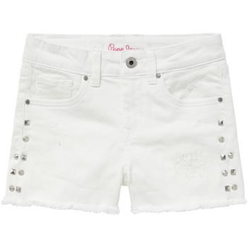 衣服 女孩 短褲&百慕大短褲 Pepe jeans ELSY 白色