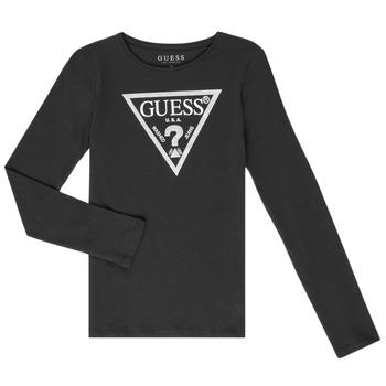 衣服 女孩 长袖T恤 Guess GARICE 黑色