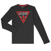 衣服 男孩 长袖T恤 Guess HERVE 黑色