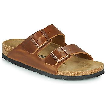鞋子 休闲凉拖/沙滩鞋 Birkenstock 勃肯 ARIZONA LEATHER 棕色