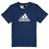 衣服 男孩 短袖體恤 adidas Performance 阿迪達斯運動訓練 BRIAN 海藍色