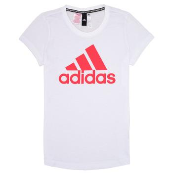 衣服 女孩 短袖體恤 adidas Performance 阿迪達斯運動訓練 ELIOTE 白色