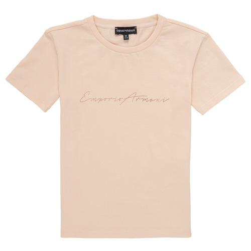 衣服 女孩 短袖体恤 Emporio Armani Armel 玫瑰色