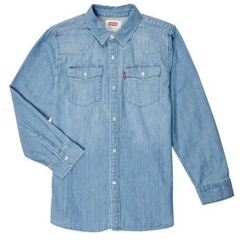 衣服 男孩 长袖衬衫 Levi's 李维斯 BARSTOW WESTERN SHIRT 蓝色