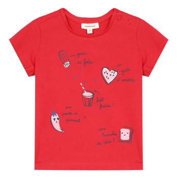 衣服 女孩 短袖体恤 Catimini MUSIKOU 红色