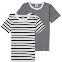 衣服 男孩 短袖体恤 Petit Bateau 小帆船 53333 白色 / 蓝色