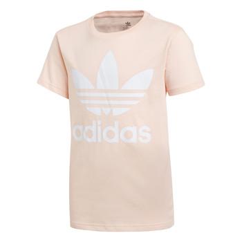 衣服 女孩 短袖体恤 Adidas Originals 阿迪达斯三叶草 TREFOIL TEE 玫瑰色
