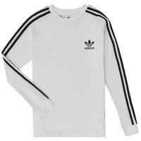 衣服 男孩 长袖T恤 Adidas Originals 阿迪达斯三叶草 3STRIPES LS 白色