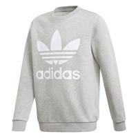 衣服 男孩 卫衣 Adidas Originals 阿迪达斯三叶草 TREFOIL CREW 灰色