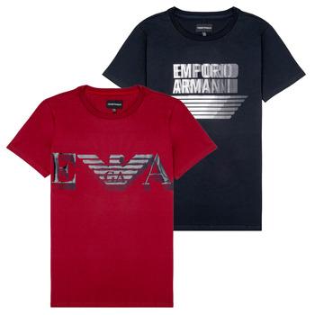 衣服 男孩 短袖体恤 Emporio Armani 6H4D22-4J09Z-0353 黑色 / 红色