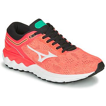 鞋子 女士 跑鞋 Mizuno 美津浓 WAVE SKY RISE 珊瑚色