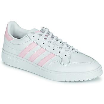 鞋子 女士 球鞋基本款 Adidas Originals 阿迪达斯三叶草 TEAM COURT W 白色 / 玫瑰色