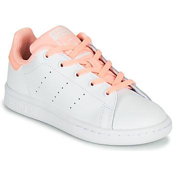 鞋子 女孩 球鞋基本款 Adidas Originals 阿迪达斯三叶草 STAN SMITH C 白色 / 玫瑰色