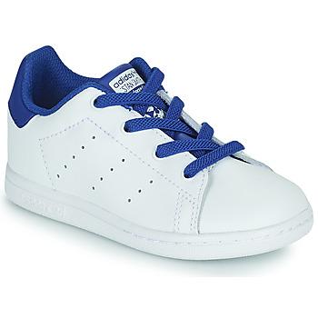 鞋子 男孩 球鞋基本款 Adidas Originals 阿迪达斯三叶草 STAN SMITH EL I 白色 / 蓝色