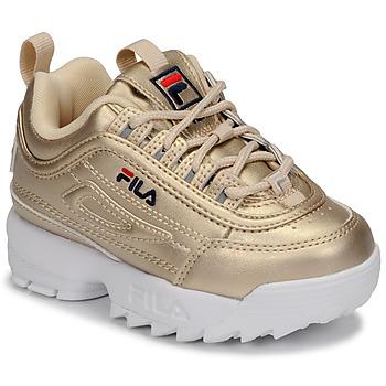 鞋子 女孩 球鞋基本款 Fila DISRUPTOR F INFANTS 金色