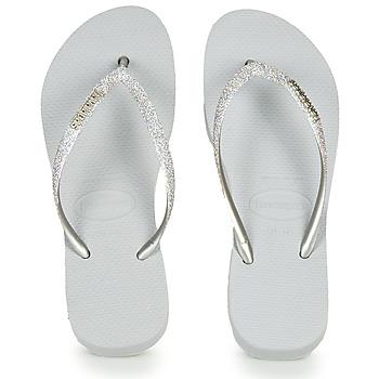 鞋子 女士 人字拖 Havaianas 哈瓦那 Slim Flatform Glitter 银色