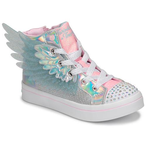 鞋子 女孩 高帮鞋 Skechers 斯凯奇 TWI-LITES 2.0 银灰色 / 玫瑰色 / Led