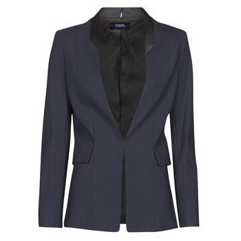 衣服 女士 外套/薄款西服 KARL LAGERFELD PUNTO JACKET W/ SATIN LAPEL 海蓝色 / 黑色