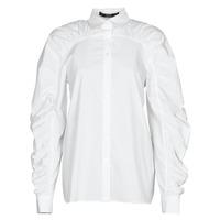 衣服 女士 衬衣/长袖衬衫 KARL LAGERFELD POPLIN BLOUSE W/ GATHERING 白色