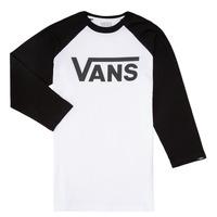 衣服 男孩 长袖T恤 Vans 范斯 VANS CLASSIC RAGLAN 黑色 / 白色