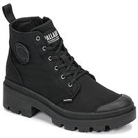 鞋子 女士 短筒靴 Palladium 帕拉丁 PALLABASE TWILL 黑色